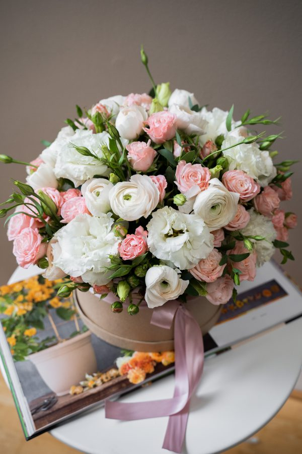 Pink and White Flower Box