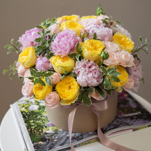 pink and yellow flower box